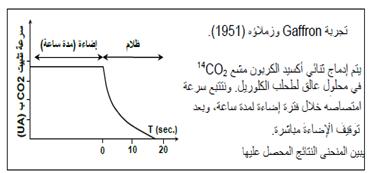 تجربة Gaffron :  بغرض التعرف على مصير ثنائي أوكسيد الكربون الممتص من طرف النباتات اليخضورية خلال الفترة المضاءة، نقترح المعطيات التجريبية التالية: